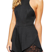 Black Spaghetti Strap Backless Lace Hem Panel Romper