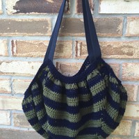 Large Crocheted Slouch Bag, Navy & Khaki Stripes, Lined, Crochet Book Bag, Shopper, Shoulder Bag, Fat Bottom Bag, Harry Potter bag, tote bag