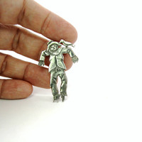 Scarecrow Brooch. Sterling Silver 925 Figural. Crow Bird on Shoulder. Vintage Gardening Jewelry. Gardener Gift. Halloween Fall Fashion