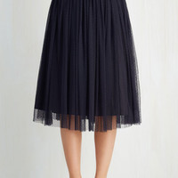 Vintage Inspired Long Full Patron Prestige Skirt in Navy