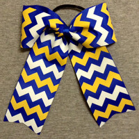 Royal Blue, Gold, & White Chevron Cheer/Softball Bow