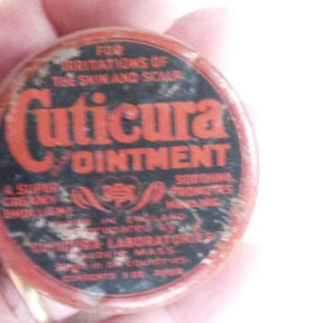 Vintage Tin, Cuticura Ointment, 1 oz, Promotional, Apothecary, England, 1950's, Mid Century