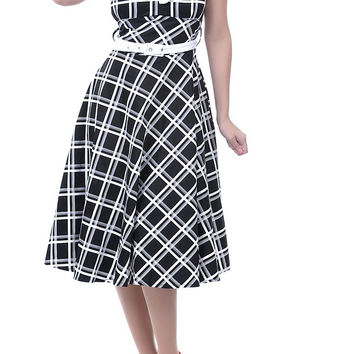 Voodoo Vixen Country Western Black and White Plaid Flare Party Dress