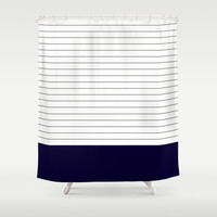 Vintage Dark Grey and Navy Stripes Shower Curtain by Kat Mun