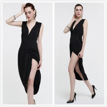 Feelingirl Black Casual Deep V-neck and High Slit Up Dress Sexy Long Maxi Slim Dress (Size: One Size, Color: Black) = 1696885892