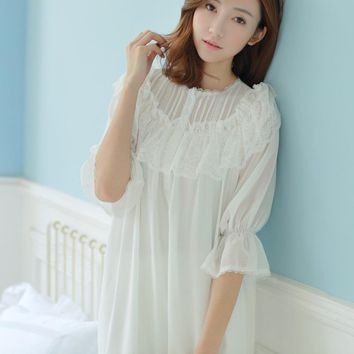 Spring Princess lace Soft modal Gauze lace Ladies Home Sleeping Dress Elegant Vintage Nightgowns Retro Palace Nightdress