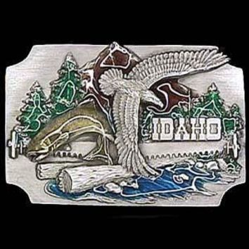 Sports Accessories - Idaho Eagle and Mountain Enameled Belt Buckle