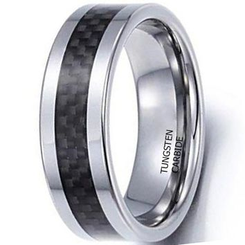 CERTIFIED 8mm Tungsten Carbide Ring Black Carbon Fiber Vintage Wedding Engagement Promise Band