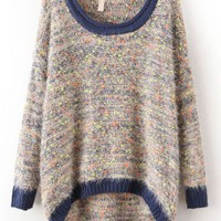 Blue Long Sleeve Shaggy Asymmetrical Kint Sweater