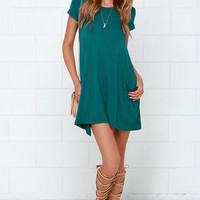 Twenty-four Seven Teal Shift Dress