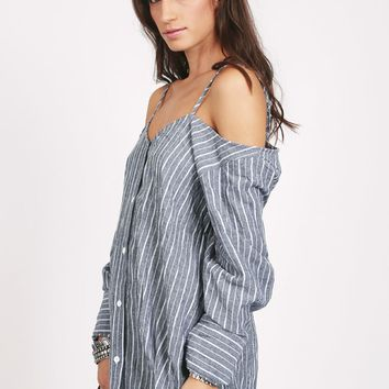 Current Affair Striped Off-Shoulder Top