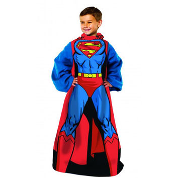 Superman Being Superman  Youth Comfy Throw Blanket w-Sleeves