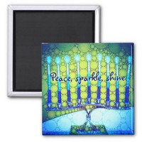 """Peace Sparkle Shine"" Blue Hanukkah Menorah Photo Magnet"
