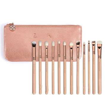 NEW Zoeva 12 pieces pink rose golden complete eye set eye shadow eyeliner blending pencil makeup brushes with bag free shipping