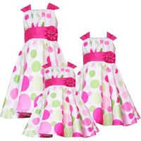 Rare Editions LITTLE GIRLS 4-6X FUCHSIA-PINK LIME-GREEN GRADIENT SHANTUNG DOT Special Occasion Wedding Flower Girl Easter Party Dress