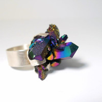 Statement Ring Aura Crystal Quartz Sterling Silver Custom Ring- Your Choice of Aura Stone
