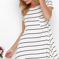 Some-Swing Chic Cream Striped Swing Dress