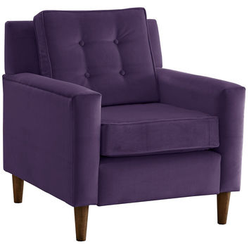 Winston Velvet Accent Chair, Violet, Club Chairs