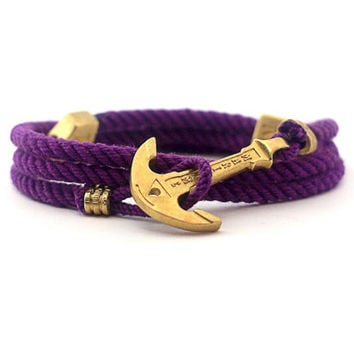Anchor Bracelet / Mens Bracelet / Purple Bracelet MARITIME Collection / Women Wrap Bracelet / Sea Bracelet / Rope Bracelet / Adjustable Size