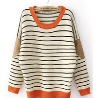 *Free Shipping* Beige Contrast Yellow Neck Knitting Pullover Sweater TBHTK1206 from clothingloves