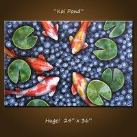 """Original Large Abstract Painting Modern Contemporary ... 24 x 36 .. """"Koi Pond"""", by Amy Giacomelli"""
