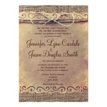 Rustic Country Vintage Burlap Wedding Invitations 5