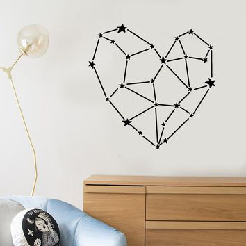 Vinyl Wall Decal Space Stars Heart Romance Love Polygonal Stickers (2588ig)