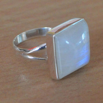 Natural Rainbow Moonstone Ring,Square Cabochon Fine Quality Genuine Moonstone Ring,Gift for her Girlfriend Boho Ring all Sizes Available USA
