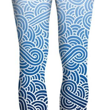 Ombre blue and white swirls doodles Yoga Pants