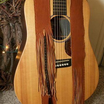 Leather Guitar Strap - Fringed guitar strap - Custom Guitar strap - Horse Hair guitar strap
