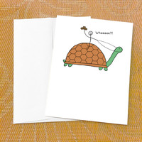 Just Thinking of You Card - Wheee Turtle - Single Card