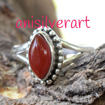 Carnelian Ring, Gemstone Ring, Large Carnelian Ring, Red, Modern, Simple, Everyday, Gift, Gemstone Jewelry, Natural Stone, Cocktail Ring