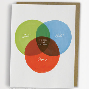 Funny Belated Birthday Card, Venn Diagram Belated Birthday Card / No. 234-C