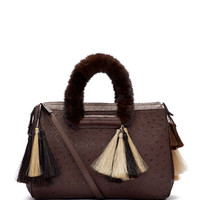 Classic 5 Ostrich Mink-Fur-Handle Tote Bag, Charcoal Brown