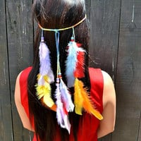 Rainbow Feather Headband - Feather Hairpiece - Festival Headband - Hippie Headband - Hair Accessories - Bohemian - Tribal