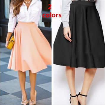New Fashion  Women's Retro Style High Waist Big Swing Skirt lady OL Midi Skirts 2 colors [8805179015]