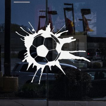 Custom Window and Wall Decal Soccer Sport Ball Sports Fans Boys Room Art Vinyl Stickers Unique Gift (ig2858w)