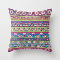 Patterned Stripes Throw Pillow by Sarah Oelerich