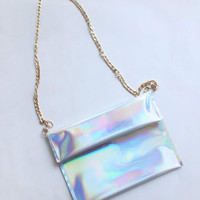 Modern Holographic Metallic Leather clutch pouch Chain Bag Messenger Bag Women Girls lady