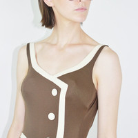 vintage 50s/60s swim suit brown backless one piece swimsuit low back bathing suit XS SMALL sm Onesuit retro pinup