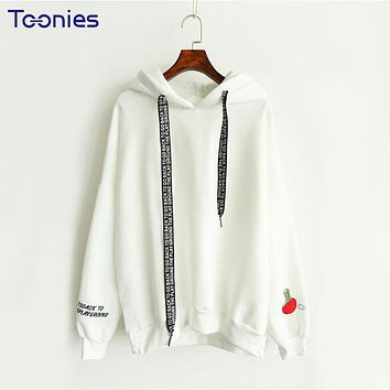 Women 2xl Oversized Pink Hoodie Sportwear Letter Embroidery Hawaii Pattern Sweatshirt Print Casual Hooded Pullover Autumn Winter