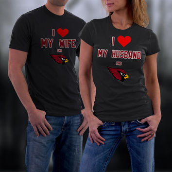 Cardinals,Arizona Cardinals Couples Shirt,  Cardinals Matching Couples tshirts,I love my Husband and the Cardinals Shirt,Wedding T Shirts