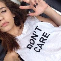 "Large Size ""Do Not Care"" Letter Print Cotton T-Shirt"