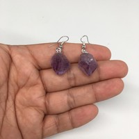 "36.5 cts,1.4""Gorgeous Natural Rough Amethyst Silver Plated Earring @Brazil,BE276"