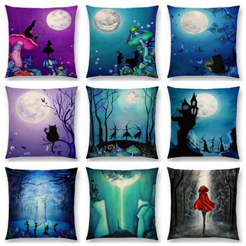 Alice Dreams Cute Cat Magical Moon Night Wonderland Emerald Forest Witches Halloween Dance Cushion Cover Sofa Throw Pillow Case