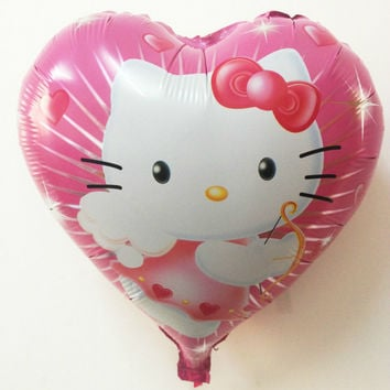 Children's toys balloon Wedding helium balloon foil hearts pink KT cat pattern pink red heart shaped