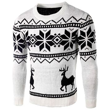 Men Sweater Deer Retro Men Sweater Clothing Long Sleeve Men Sweater Slim Fit Cool Fashion