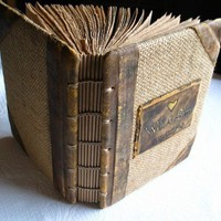 Coptic stitch vintage look jute and leather journal by crearting