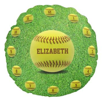 Softball Yellow Ball On Grass With Ball Numbers Round Pillow