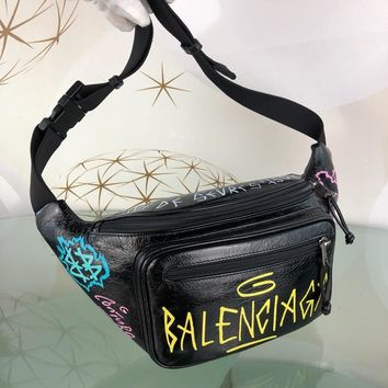 PEAPx 1568 Balenciaga Fragrant leather doodle waist chest bag Black Yellow